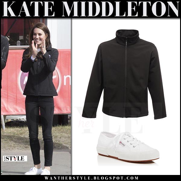 Kate Middleton in black jacket, black jeans and white sneakers superga 2750 what she wore april 23 2017