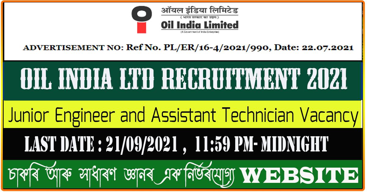 OIL India Ltd Recruitment 2021 - Junior Engineer and Assistant Technician (62 Post)