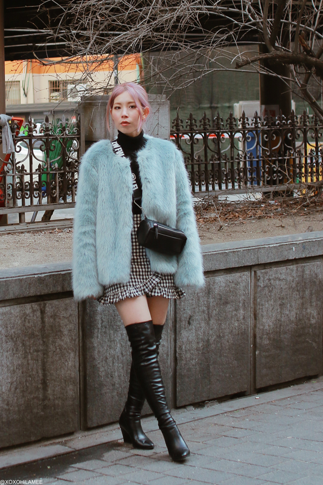 Japanese Fashion Blogger,Mizuho K,20180302OOTD,Bershka-faux fur jacket,UNIQLO-turtle neck,Chicwish-culotte pants,ZARA-bag,SheIn-over the knee boots in Korea