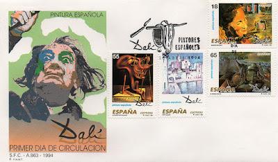 sobre, sello, Dalí, pintura,