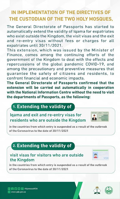 King Salman orders extension of Iqamas, Re-Entry and Visit visas until 30th November for Expats in restricted countries