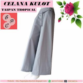 Celana Kulot Taipan Tropical (Serat Linen) Abu-abu Muda