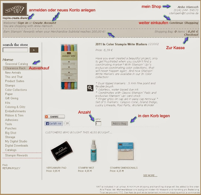 Anleitung Onlineshop Stampin Up