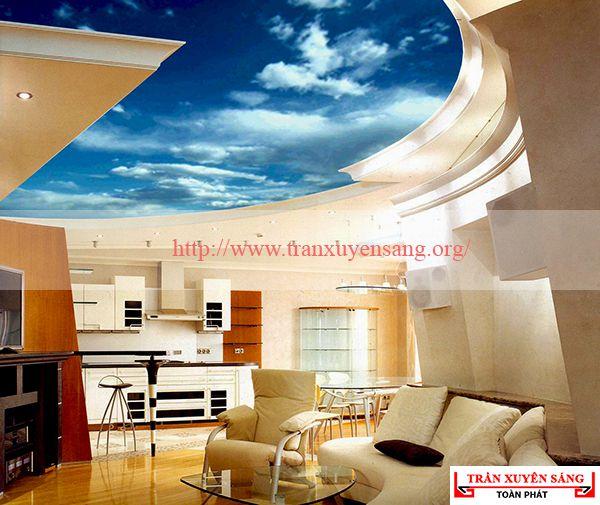 Mẫu trần phòng khách in bầu trời 4