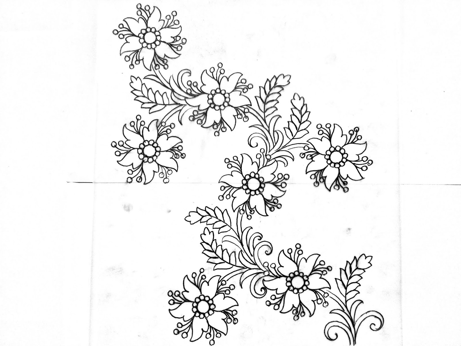 Latest Embroidery Flowers Designs Sketch On Tracing Paper Flower Design Drawing For Hand Works Saree Design,1920s Interior Design Australia