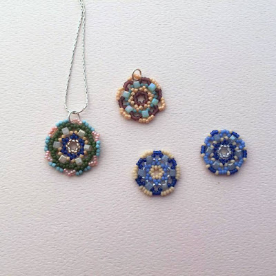 free tutorial to learn circular bead netting - used to make mandalas and flower pendants
