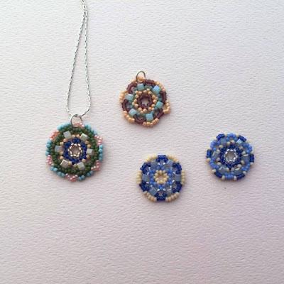 free tutorial to learn circular bead netting - used to make mandalas and flower pendants