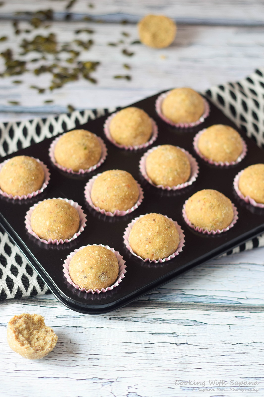 Pumpkin seeds ladoo cookingwithsapana i made these ladoos with a combination of pumpkin seeds wheat flour semolina and lots of dried fruitswell there is ghee so it is not totally guilt free forumfinder Choice Image