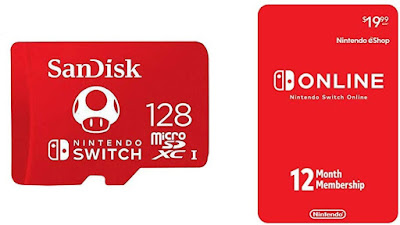 Nintendo Switch 12-month Membership E-Gift card with 128GB MicroSDXC card- $44.29