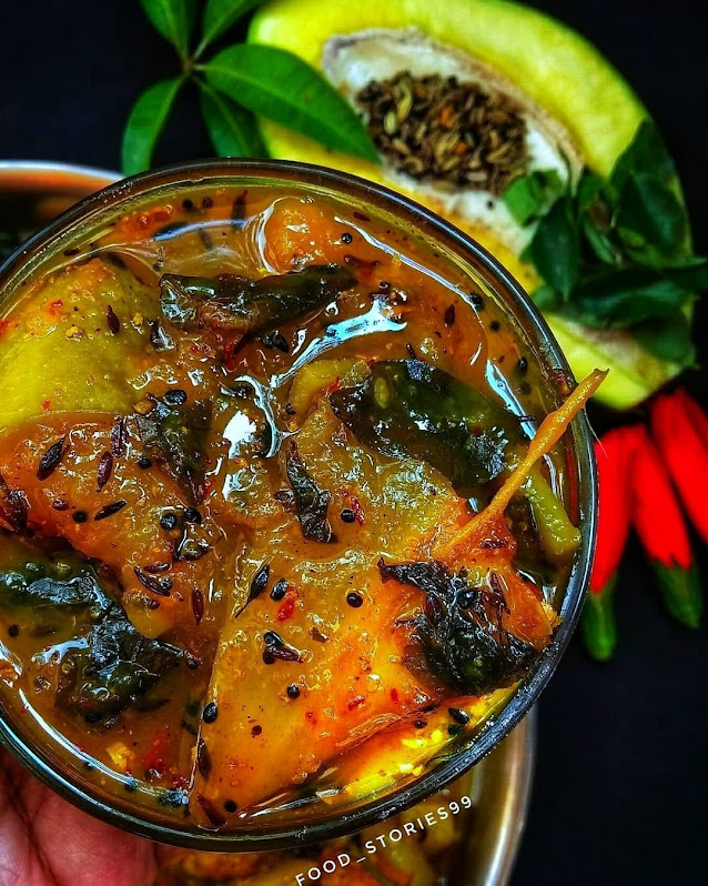 Delicious Raw Mango Pickle - Yummy Kancha Amba Khata Odia Style