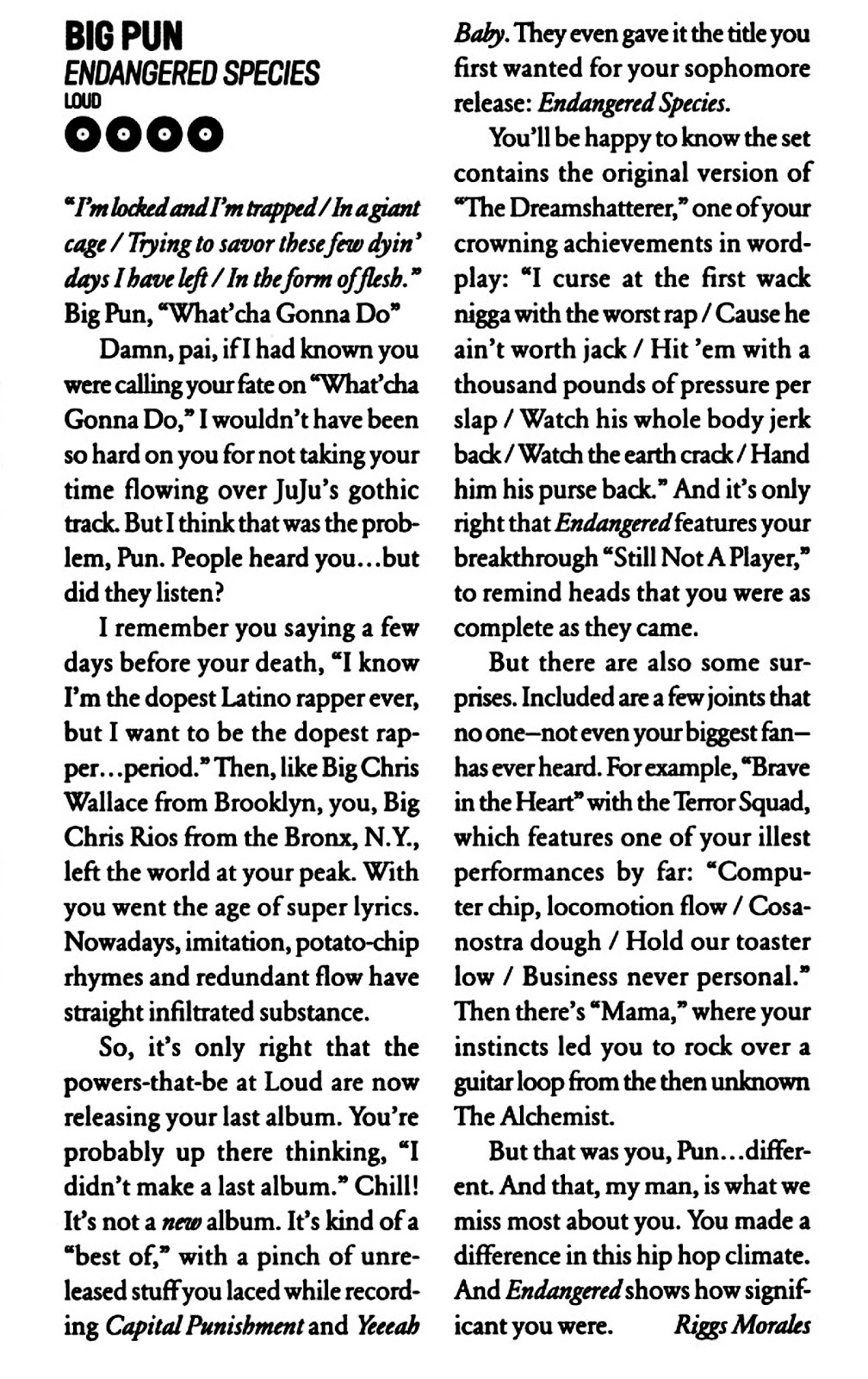 Big Pun Endangered Species Vibe Magazine Review 2001