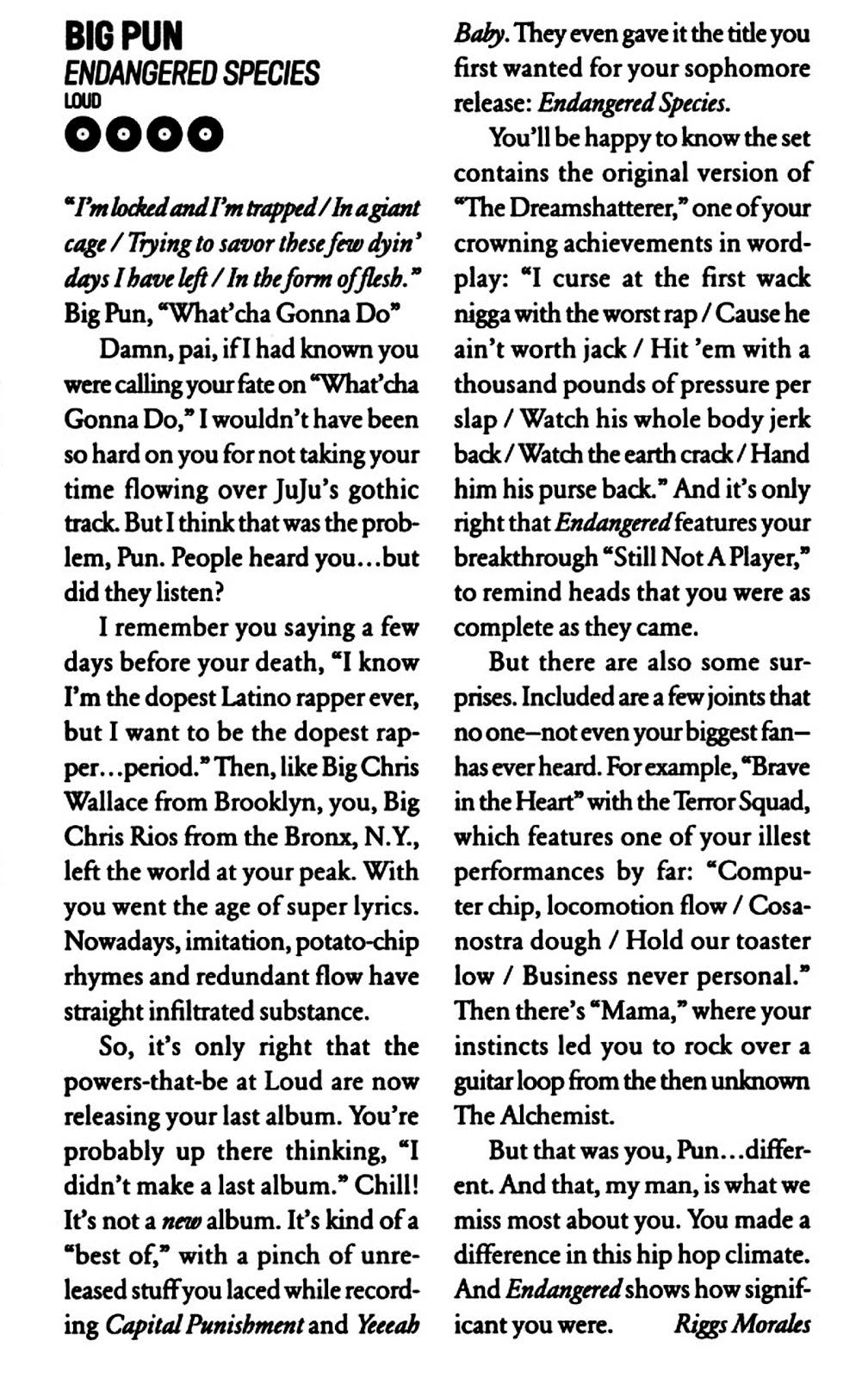 Big Pun Endangered Species Vibe Magazine Review 2001