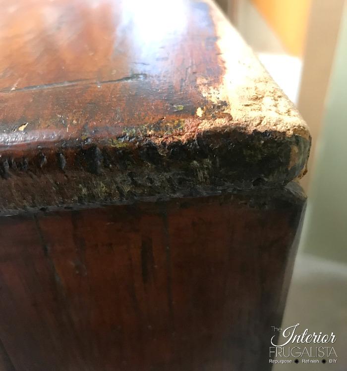 Red Antique Empire Dresser Damaged Corner