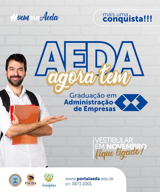 AEDA oferece, de maneira inédita, 50 vagas para o curso de graduação em Administração de Empresas
