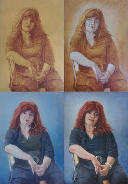 WIP woman sitting on stool art M P Davey