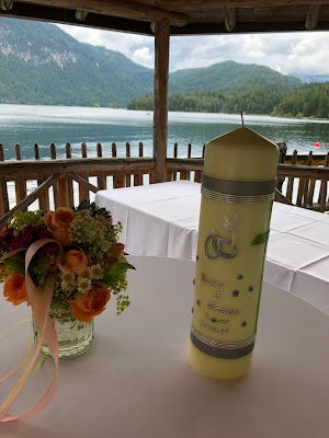 Hochzeitskerze, Hochzeit am See, Berghochzeit, mountain wedding, destination wedding Germany, heiraten in Bayern, Eibsee, Grainau, Zugspitze, Hochzeitsplanerin Uschi Glas, wedding in Bavaria, Sommerhochzeit 2019