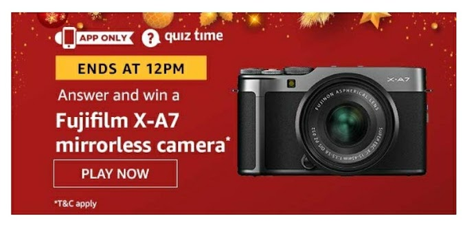 Amazon Quiz answer and win Fujifilm X-47 Mirrorless Camera