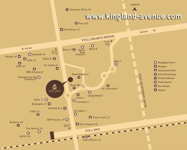 Peta Lokasi Apartemen Kingland Avenue Serpong