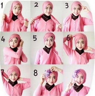 Tutorial hijab segi empat lebaran modis untuk remaja