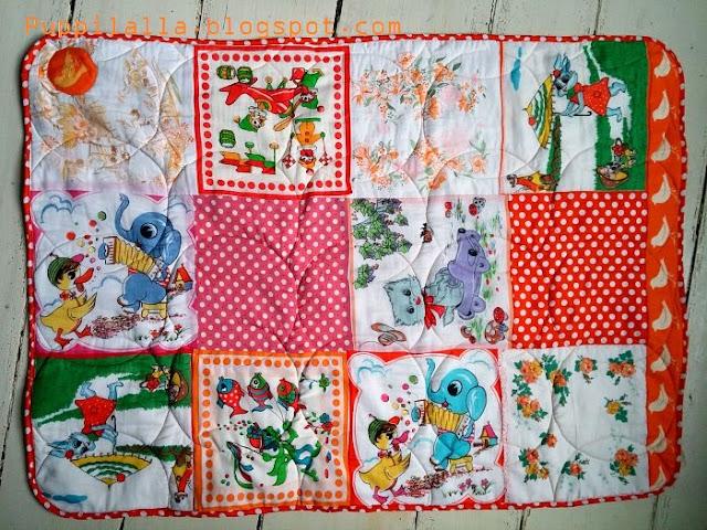 Vintage Handkerchief Patchwork Baby Quilt Puppilalla Design