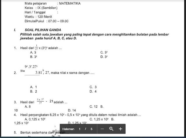 Soal PAS Matematika Kelas 9 K13 Sem.1/Ganjil