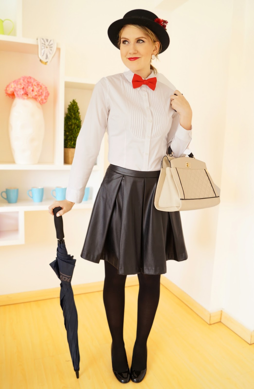 the joy of fashion halloween homemade mary poppins costume. Black Bedroom Furniture Sets. Home Design Ideas