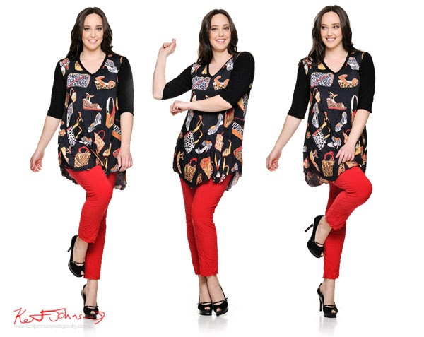 Kathleen Berney Look Book SS 2013 - Reto 60s print smock with red pants - moment series Photo by Kent Johnson.
