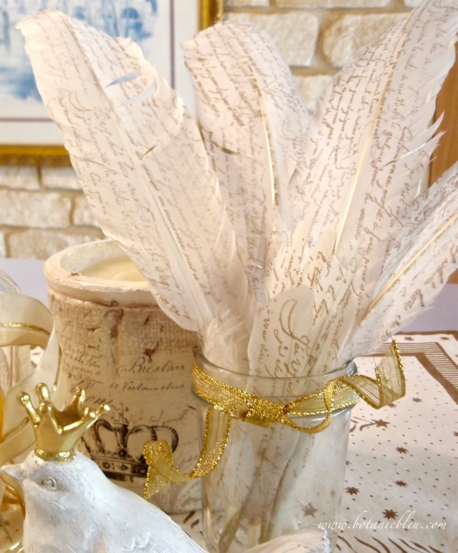 diy-french-script-white-feathers-gold-ink