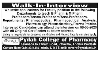 Pydah Group ofInstitutions Pharamcy College Assisant Professor jobs
