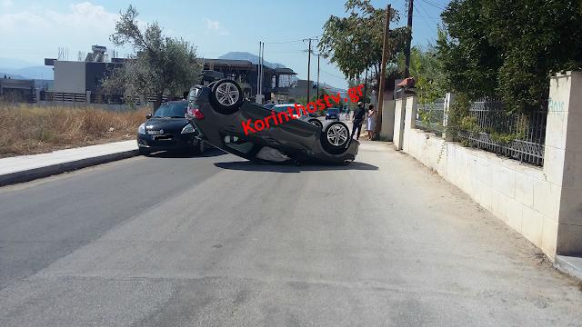Κόρινθος: Αυτοκίνητο με δύο επιβάτες ντεραπάρισε στη μέση του δρόμου (βίντεο)