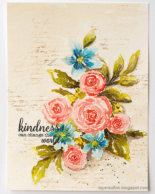 Layers of ink - Watercolor Florals Tutorial by Anna-Karin Evaldsson. With Memory Box Rose Bouquet.
