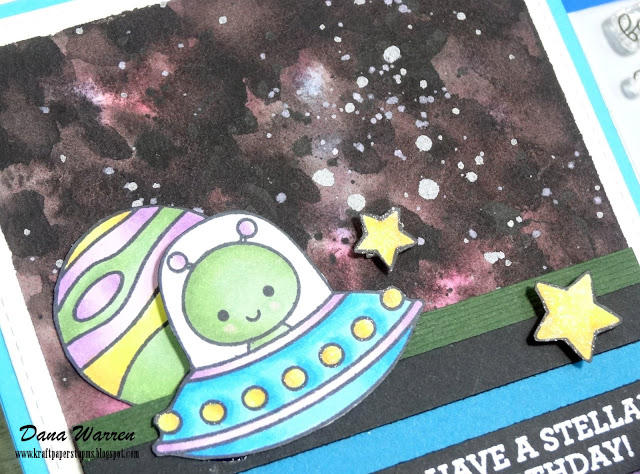 Dana Warren - Kraft Paper Stamps - Doodlebug Designs - Galaxy Watercolor Background