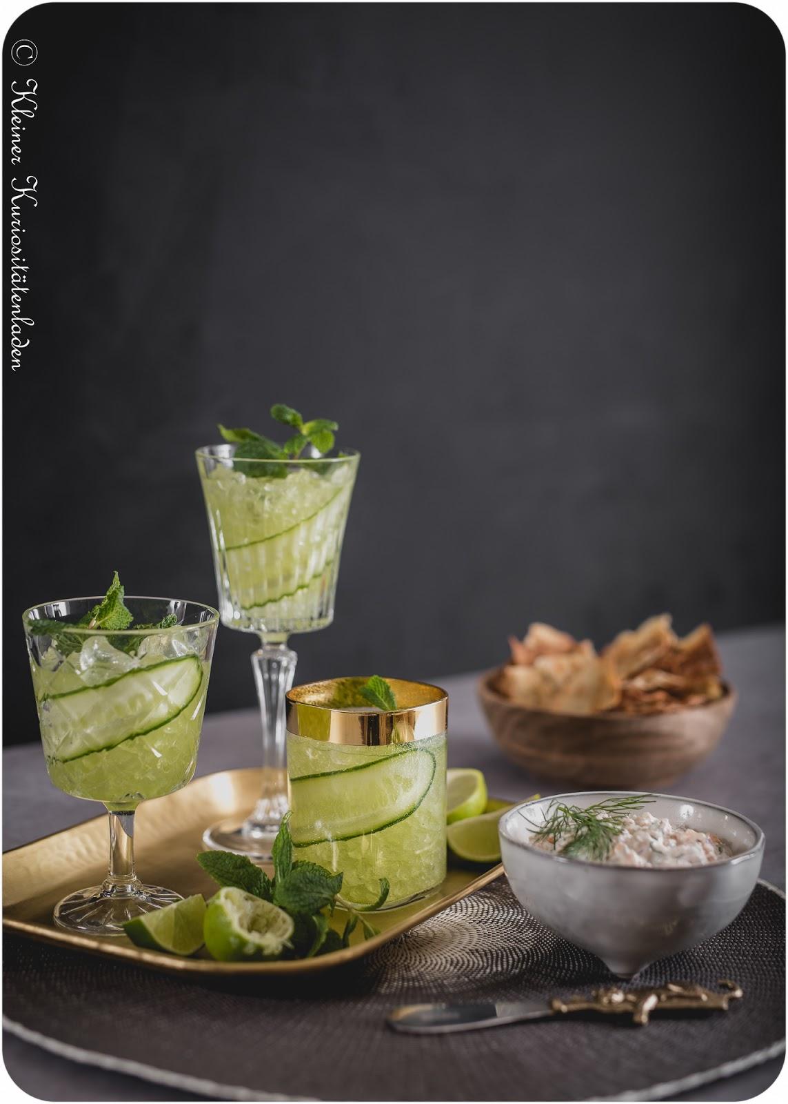 Cucumber Gimlet | Olivenölcracker | Räucherlachsdip