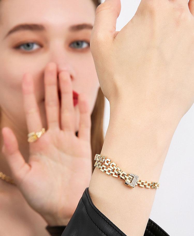 時尚金屬風皮帶鋯石手鍊
