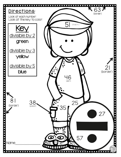 Divisibility Rules Activity Worksheet free for 4th grade math and 5th grade math