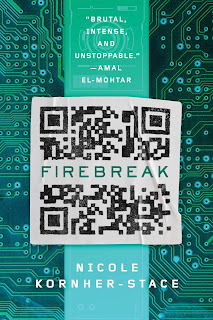 """A microchip with a QR in the center of it, the QR code is bisected horizontally by """"FIREBREAK"""" in green text."""