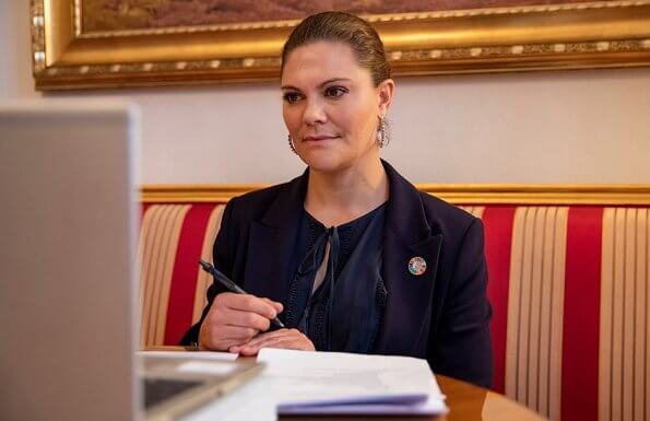Crown Princess Victoria wore a new mist blue narina blazer from Tiger of Sweden. Princess Victoria wore a navy Molena blazer from Tiger of Sweden