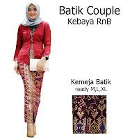 Batik Couple Setelan Kebaya Batik Muslim Kutubaru Rok Batik Prada SBRG140c