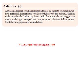 Soal dan Jawaban Aktivitas 5.3 Kerjasama dalam pergaulan Remaja PKN Kelas 7