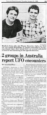 2 groups in Australia Report UFO Encounters - Syracuse (NY) Herald-Journal 1-21-1988