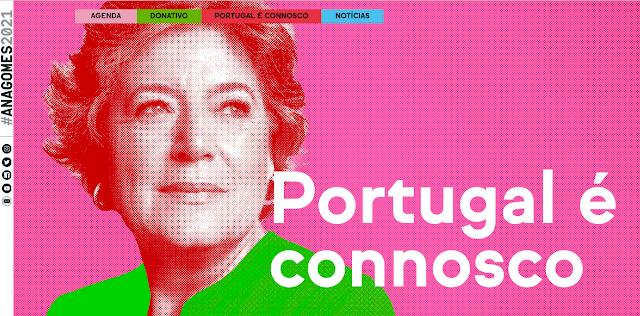 PÁGINA NA INTERNET DA CANDIDATA ANA GOMES