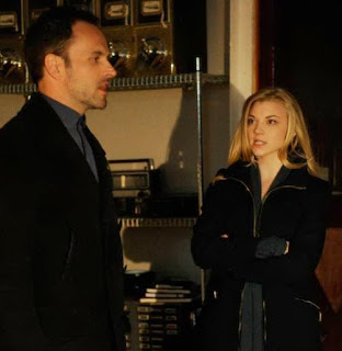 Jonny Lee Miller and Natalie Dormer as Sherlock Holmes and Irene Adler Moriarty in CBS Elementary Season 1 Finale Episode # 23 The Woman