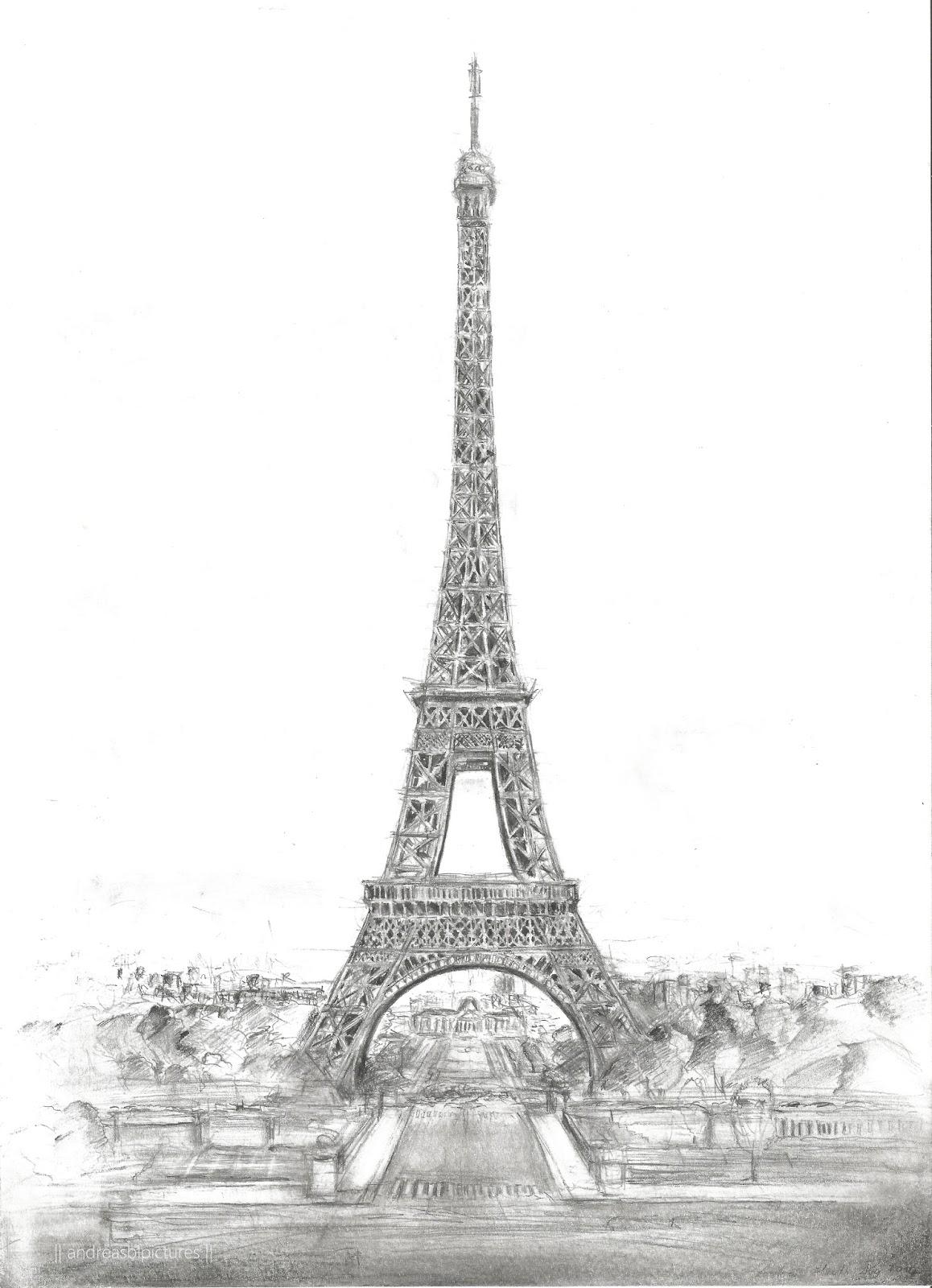 Zeichnung - Eiffelturm in Paris // Dessin de Tour Eiffel à Paris