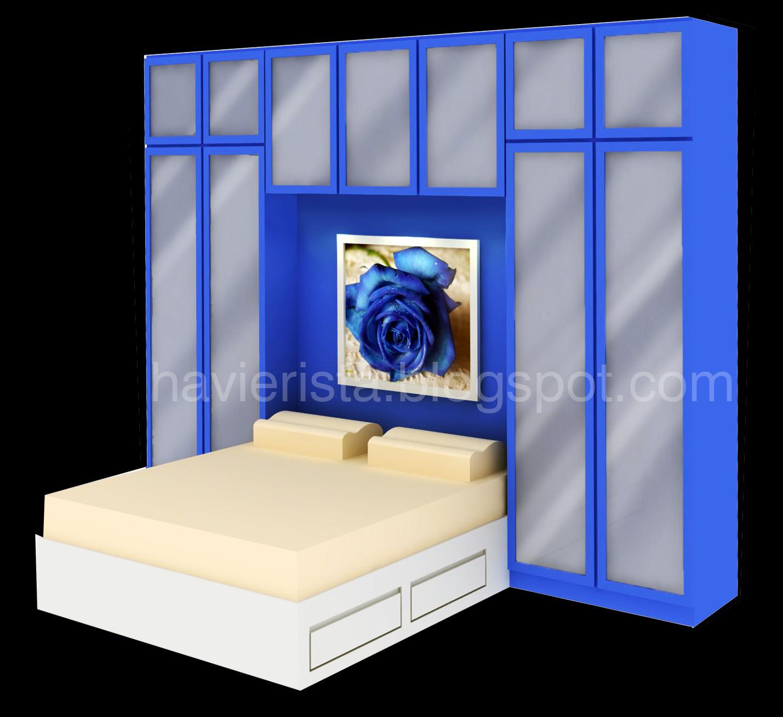 Blue Stripes Built In Storage Bed