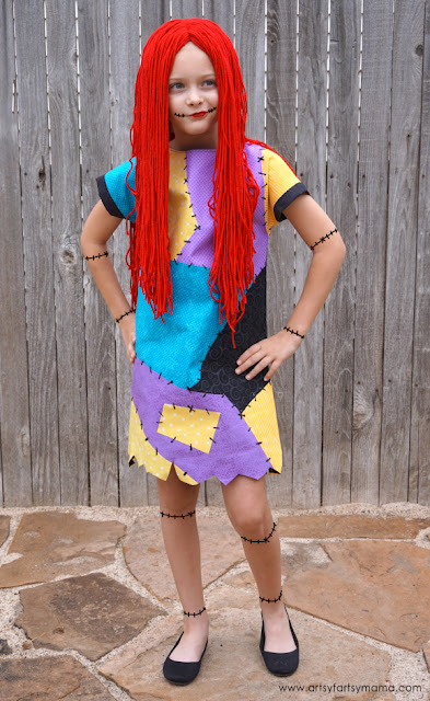 DIY Nightmare Before Christmas Sally Costume Dress and Wig Tutorial