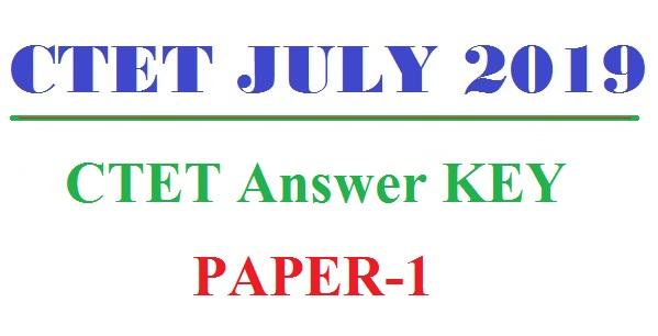 CTET Answer KEY 2019 PAPER 1
