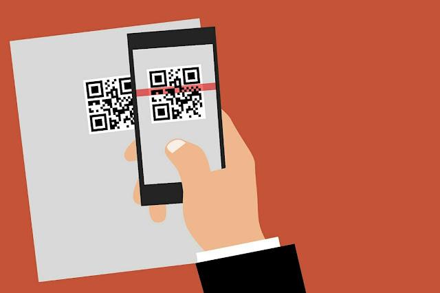 Gambar animasi Transaksi dengan scan kode QR