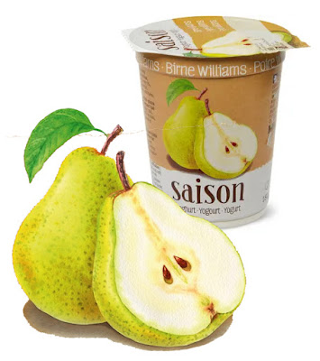 Pear Migros Saison Yogurt with watercolour illustrations by Irina Sztukowski