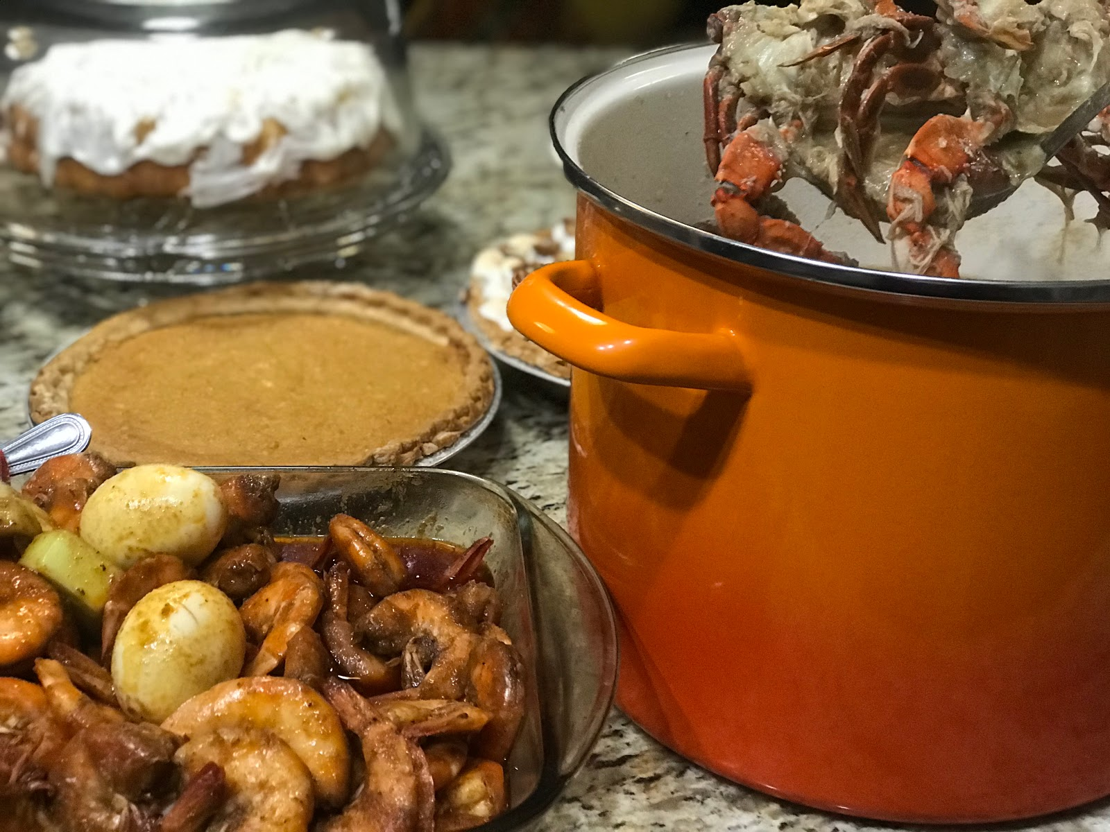 Cakes, pies and shrimp on the table for Thanksgiving: The joyful list