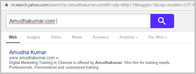 Yahoo-Index-Status-for-Amudhakumar-website